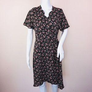Monteau Dress PL Dress Black Floral Wrap